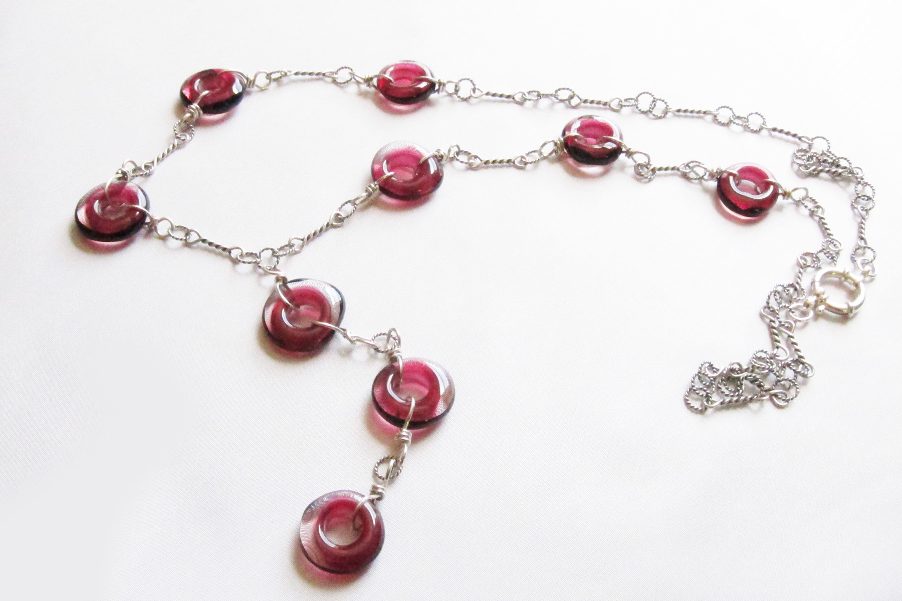 Pink Donut Bead Chain Necklace