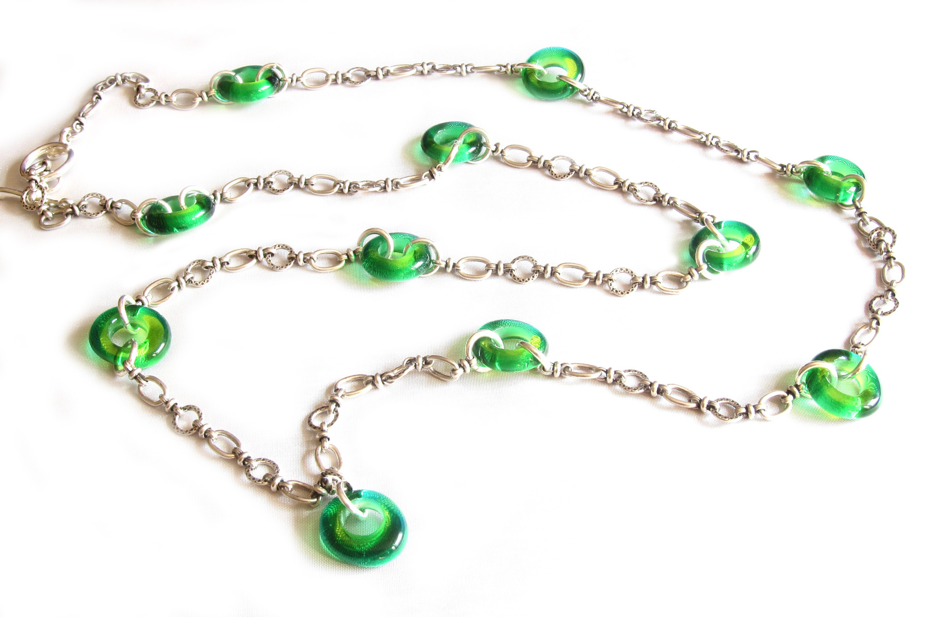Green Donut Chain Necklace