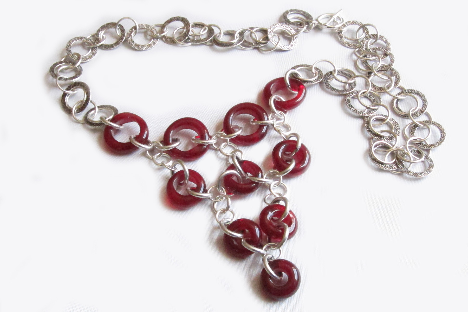Ruby Red Donut Hoopy Chain V-Drop Necklace