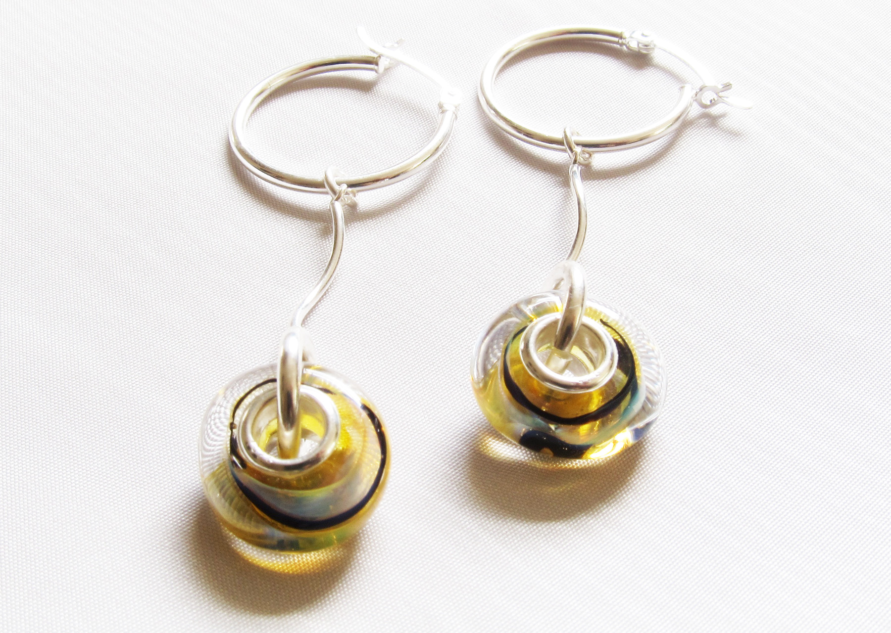 Aura Light Yellow Blue Silver Core Hoop Earrings