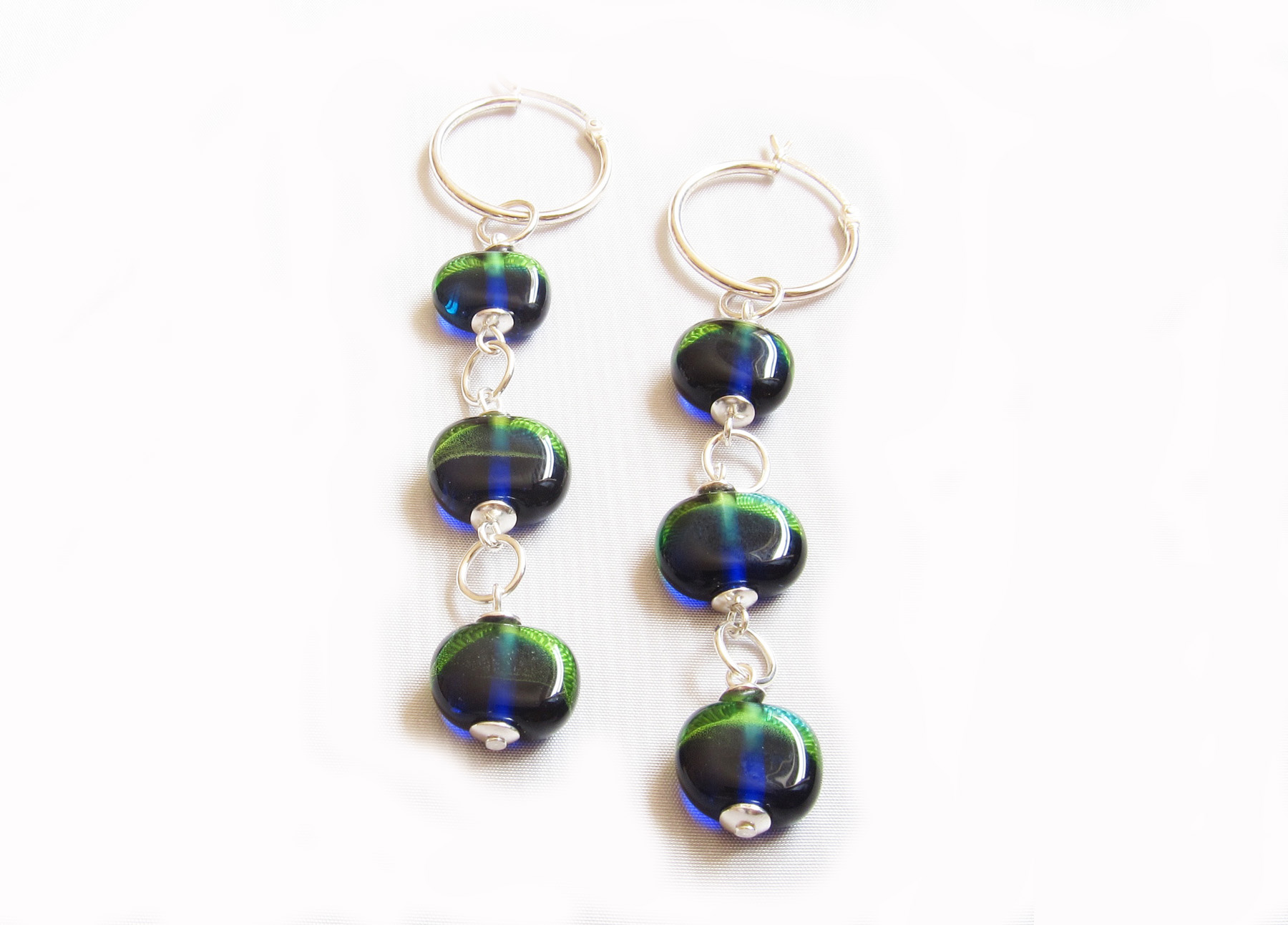 Peacock Disk Bead Hoop Earrings