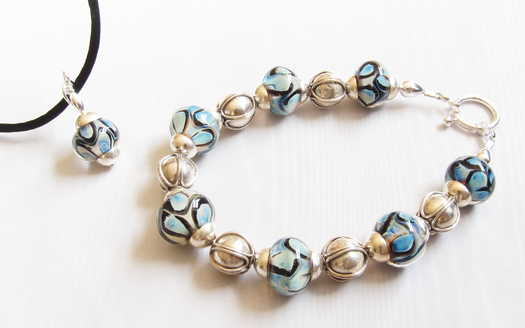Aura Blue Beige Black Dots Drop on Satin Cord with Matching Bracelet