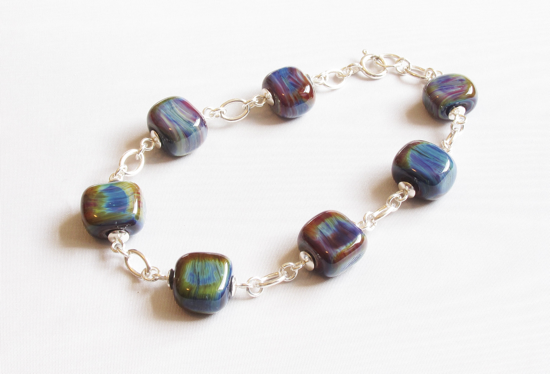 Earth Toned Stony Glass Bead Bracelet