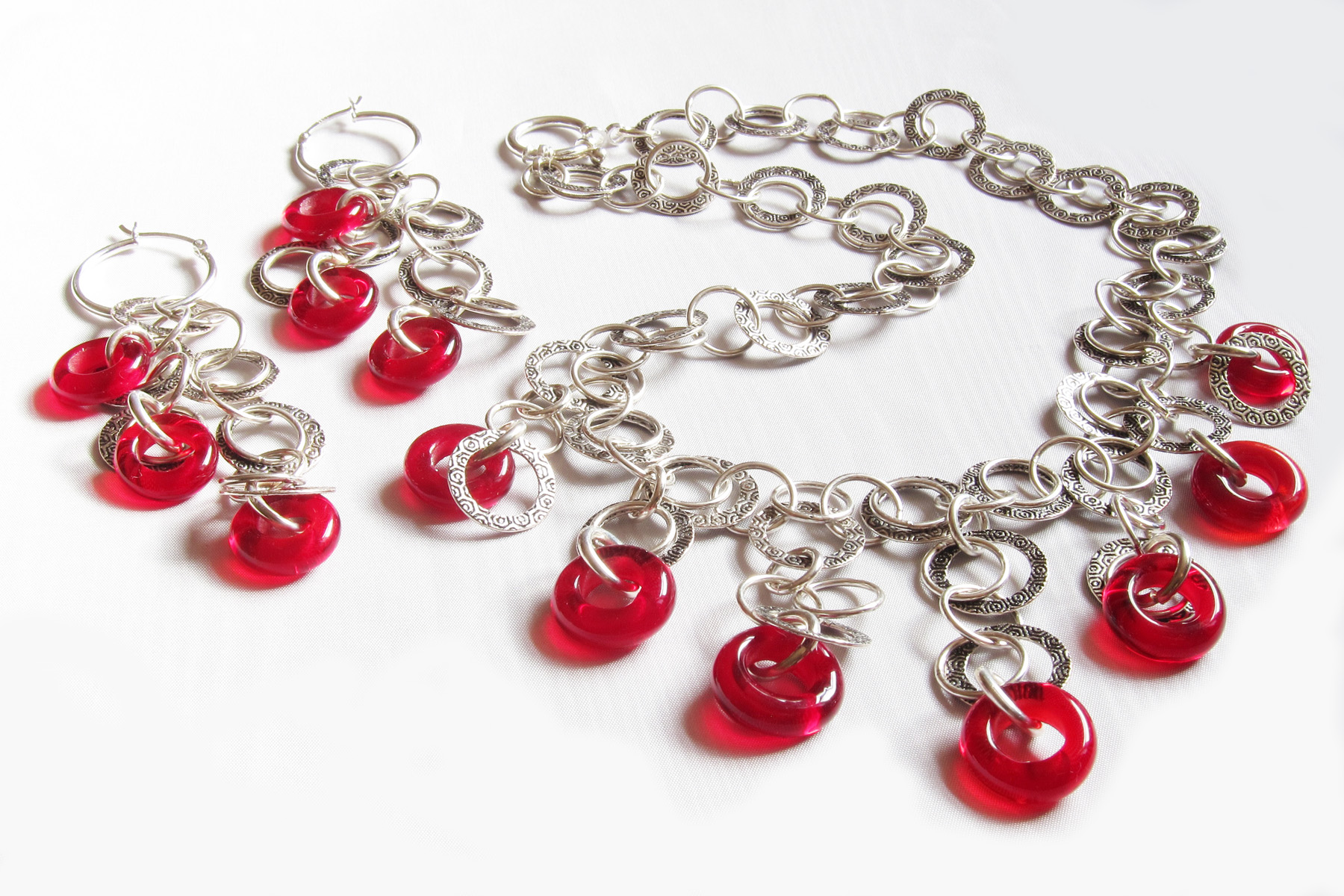 Red Donut Necklace and Dangle Earrings Set