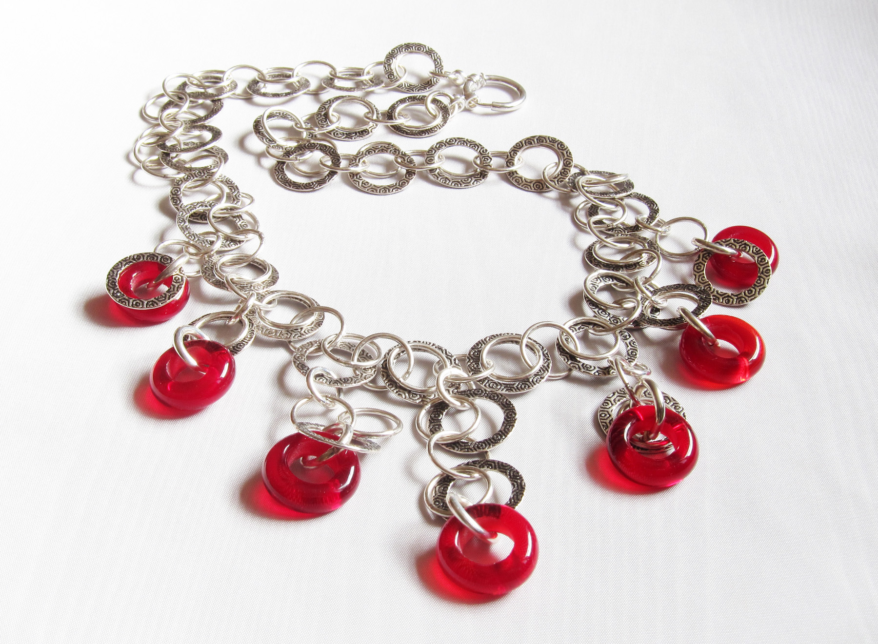 Ruby Red Donut Hoopy Chain Necklace