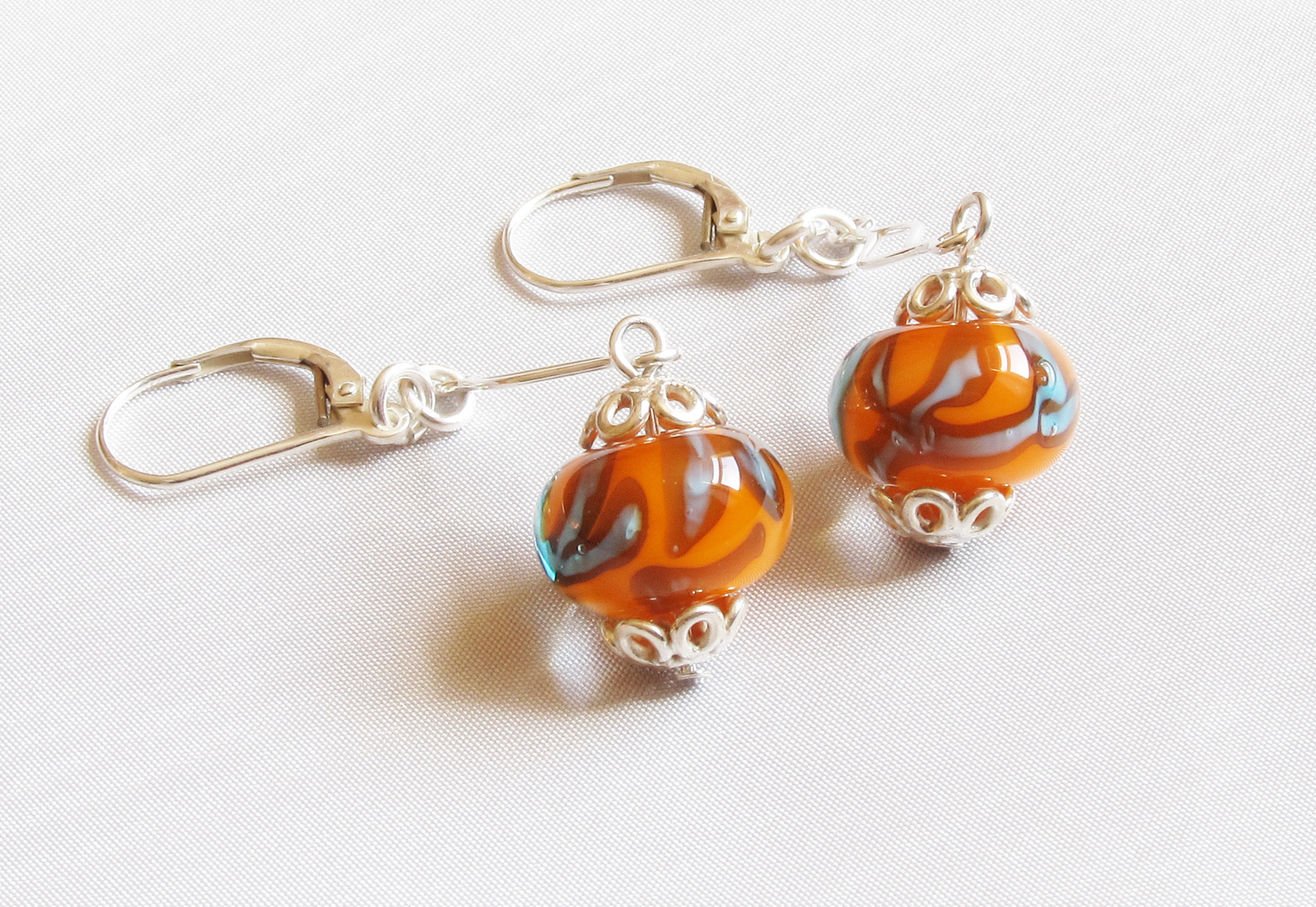 Orange Turquoise Wavy Silver Leverback Drop Earrings