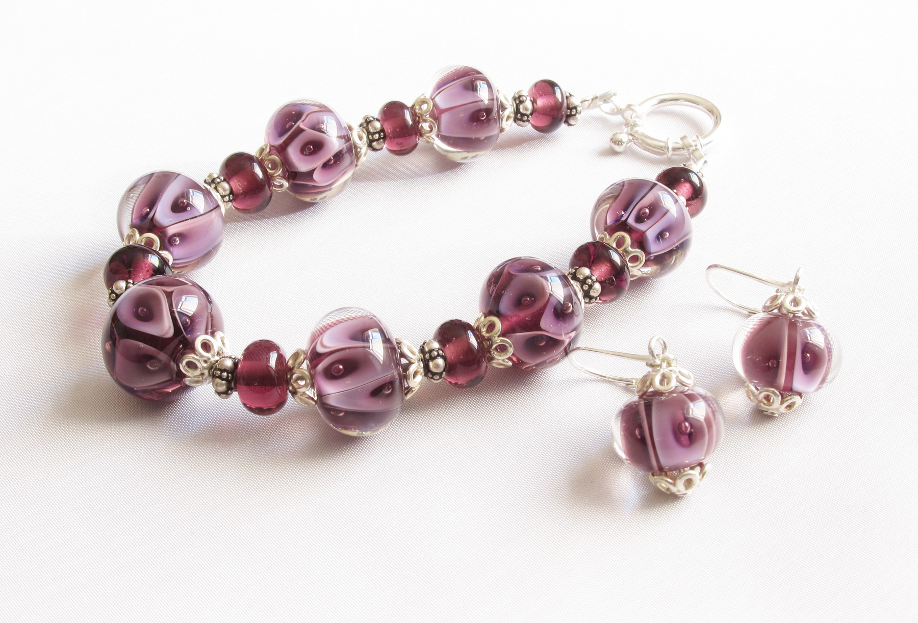Lavender And Purple Plunge Bracelet and Earrings Set