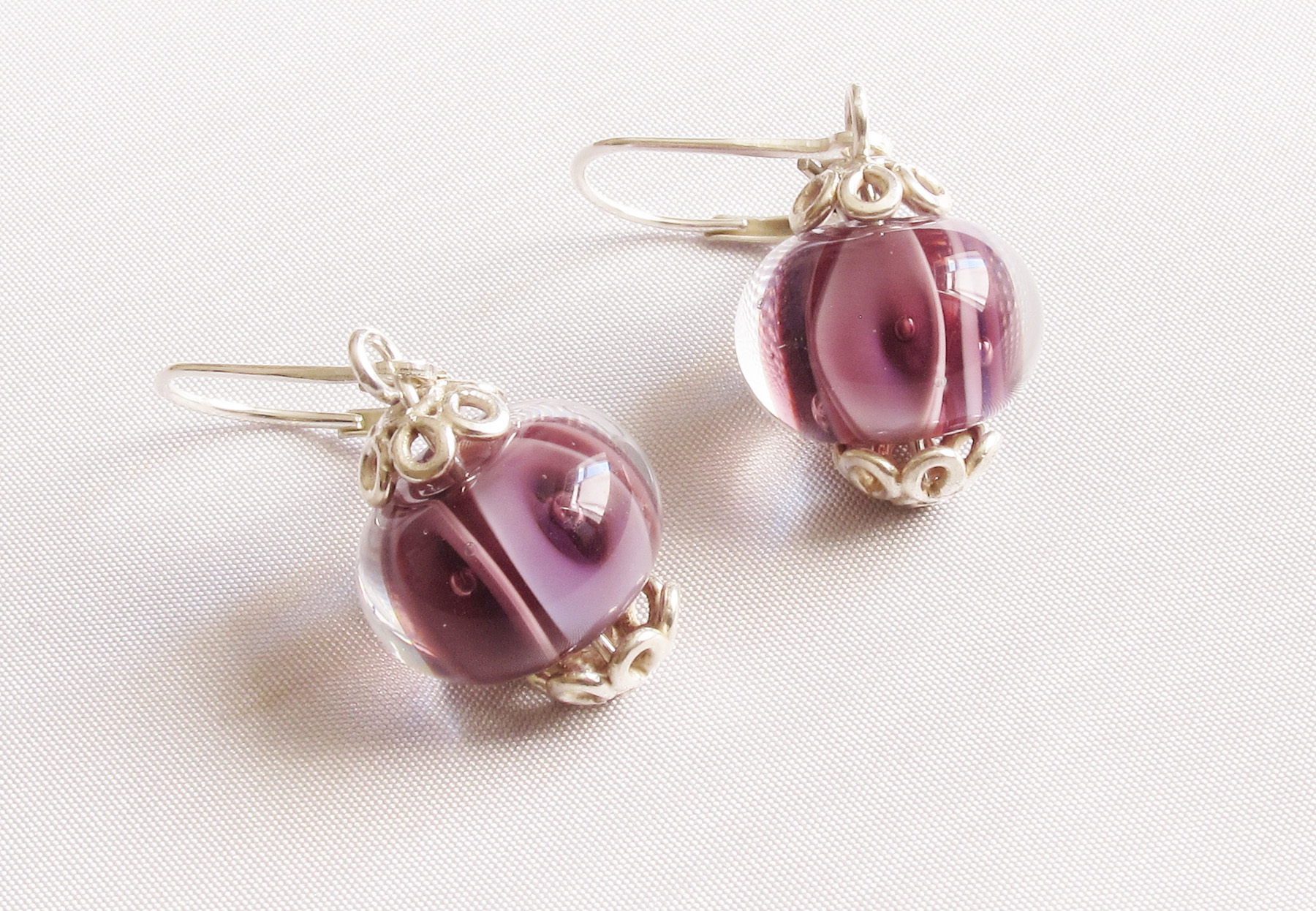 Purple Plunge Leverback Drop Earrings