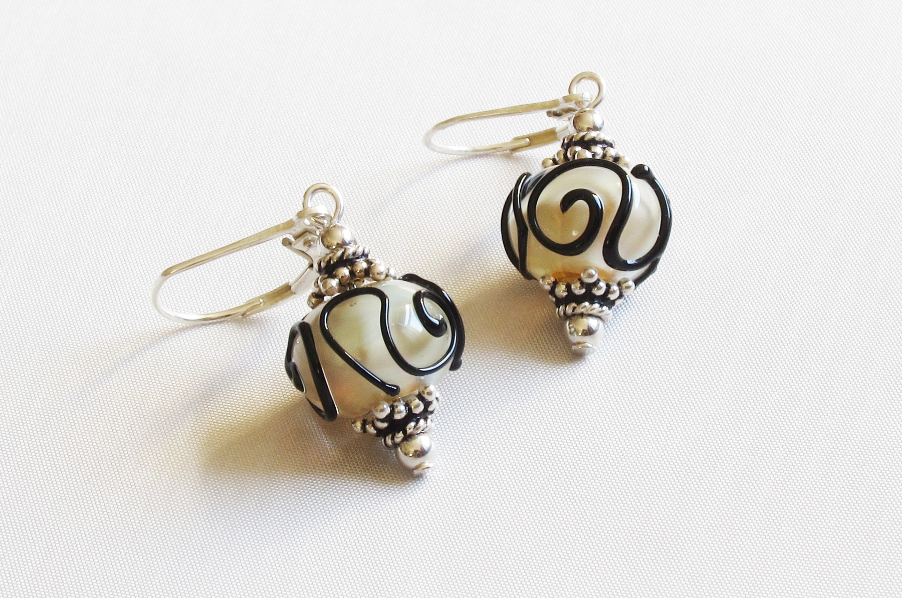 Taupe Black Swirl Leverback Drop Earrings