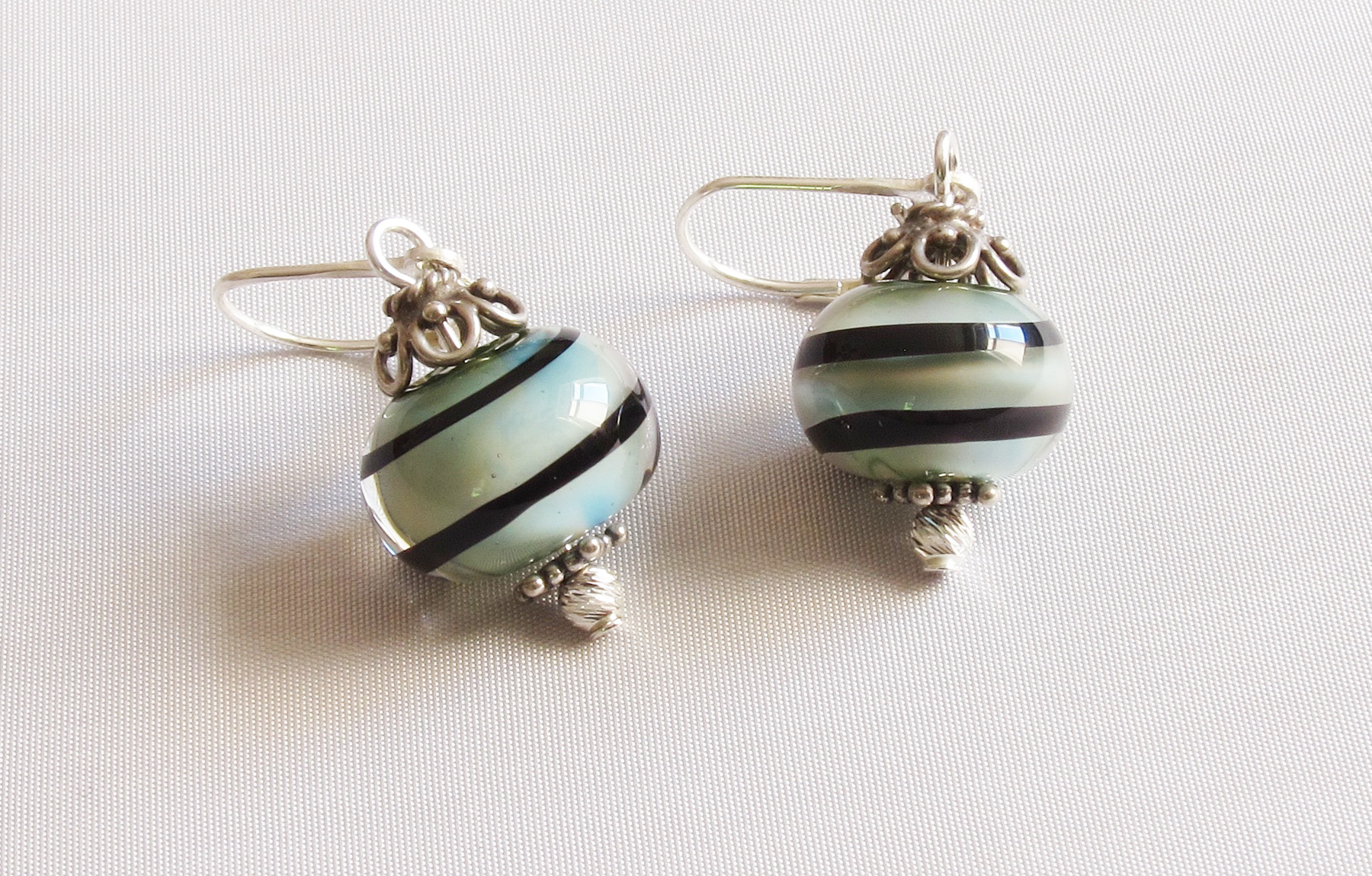 Green Blue Swirl Leverback Drop Earrings