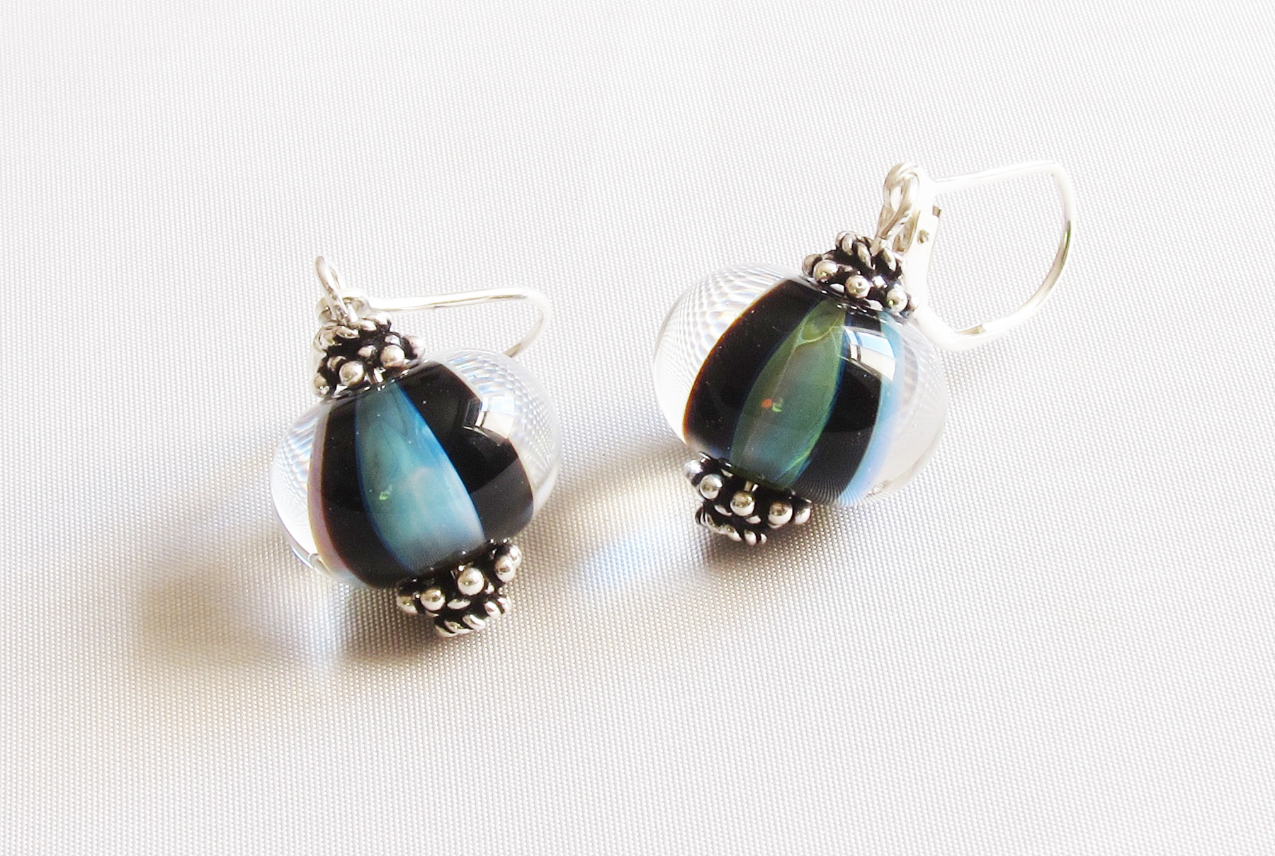 Blue Green Encased Black Stripes Leverback Drop Earrings
