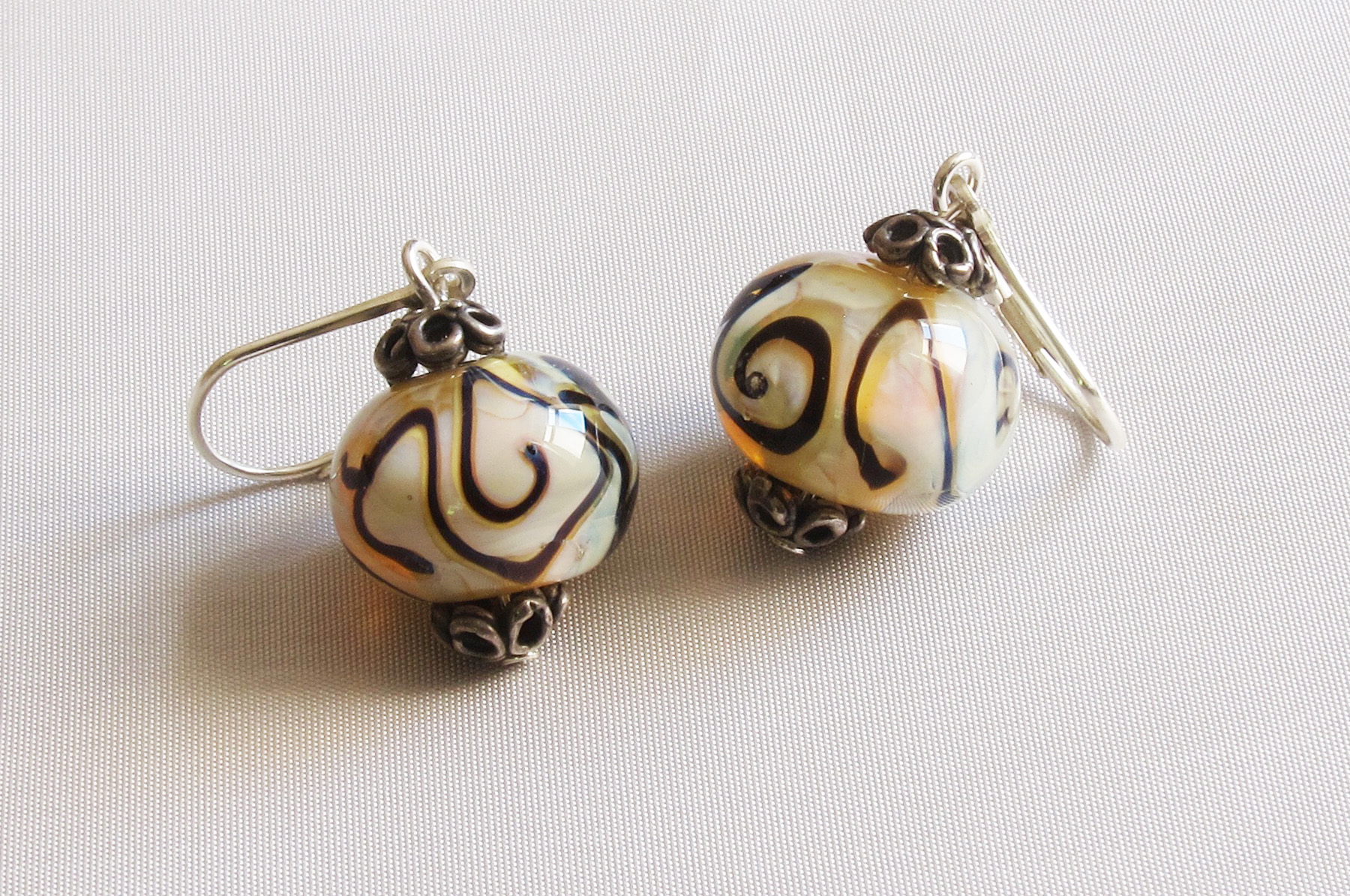 Beige Black Swirls Leverback Drop Earrings