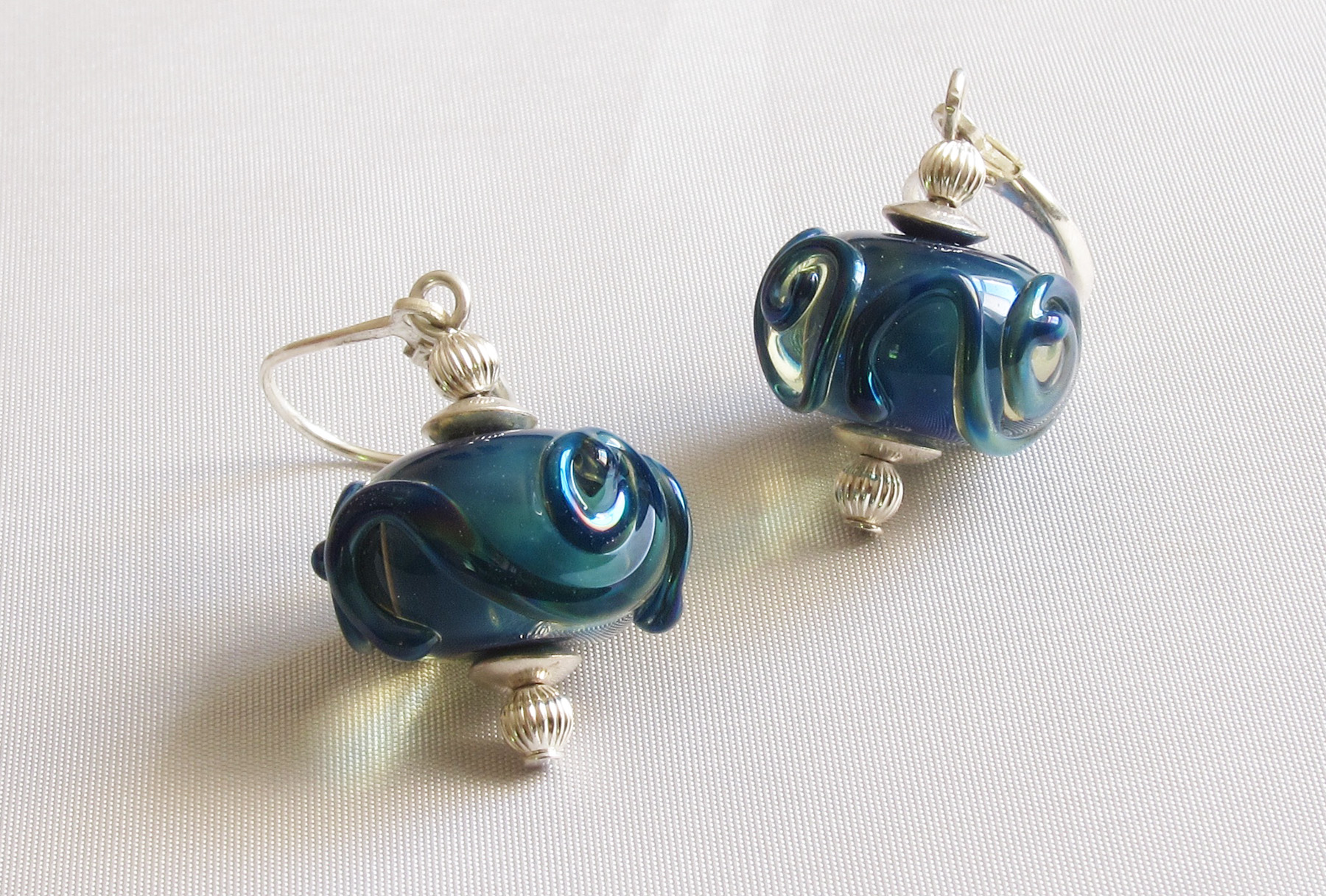 Blue Teal Core Swirls Leverback Drop Earrings