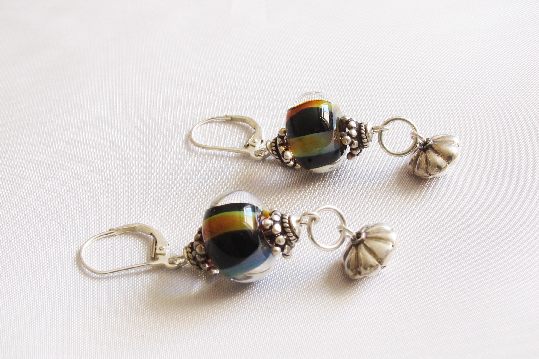 Green Brown Black Stripe Earrings Leverback Drop Earrings