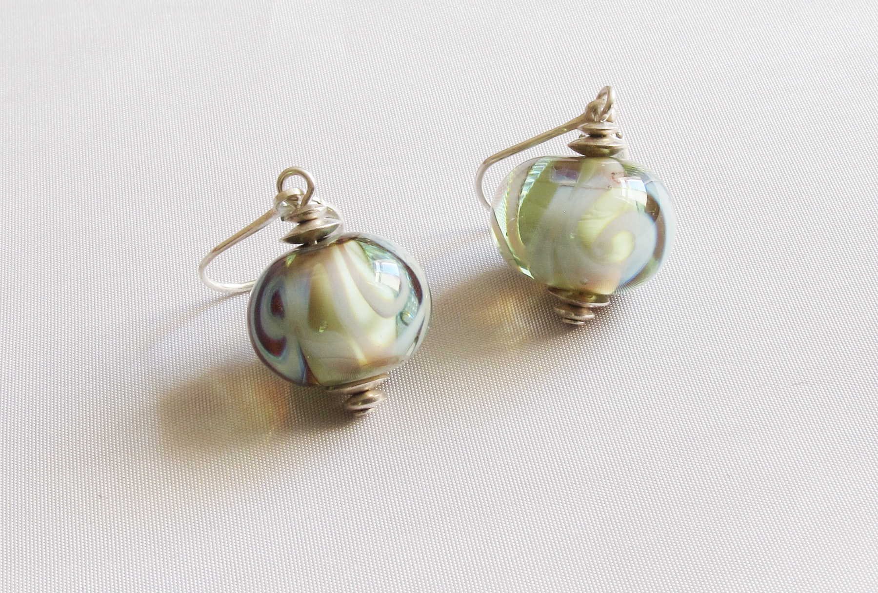 Pale Green Swirl Leverback Drop Earrings