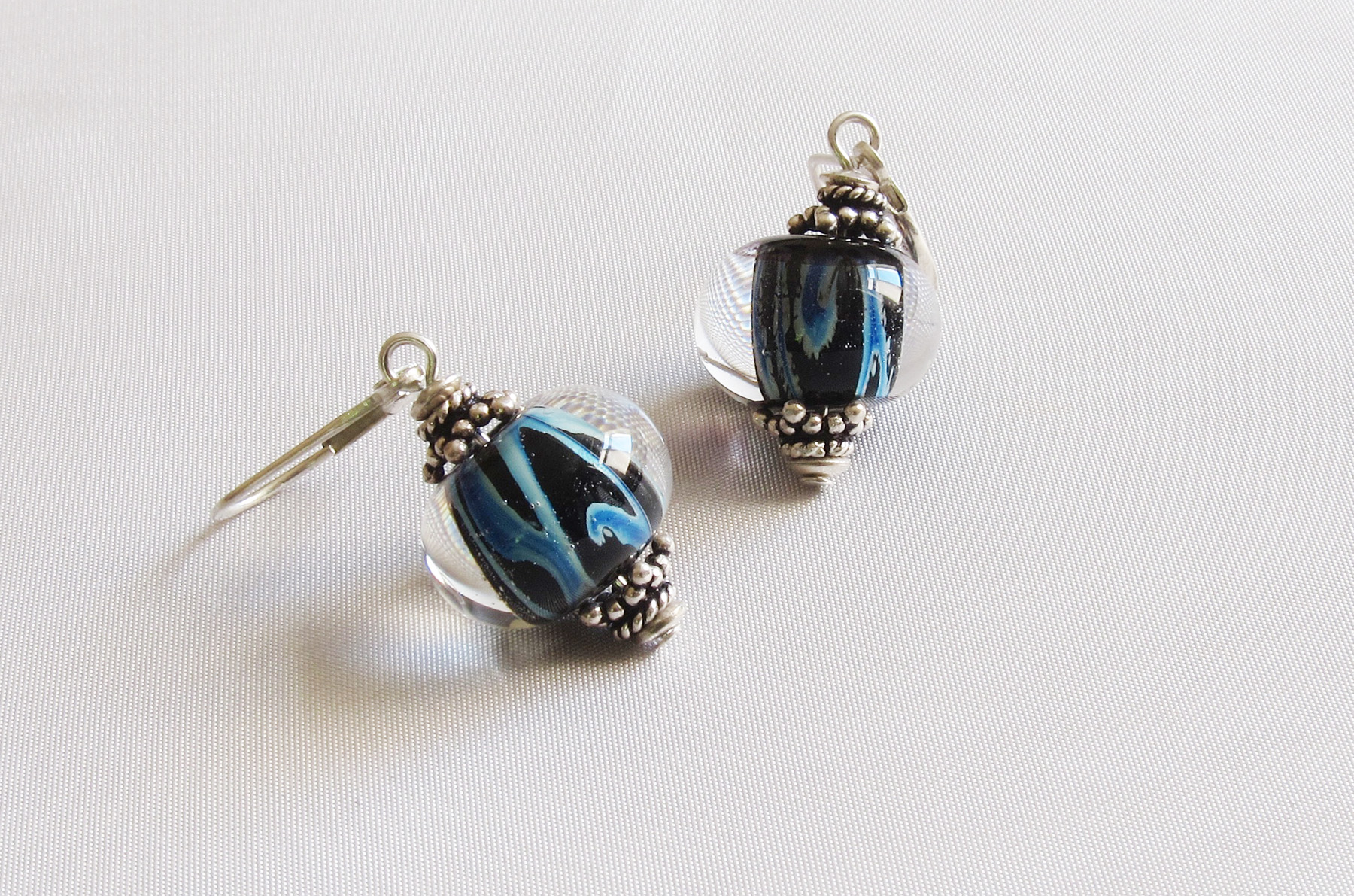 Blue Swirls Leverback Drop Earrings