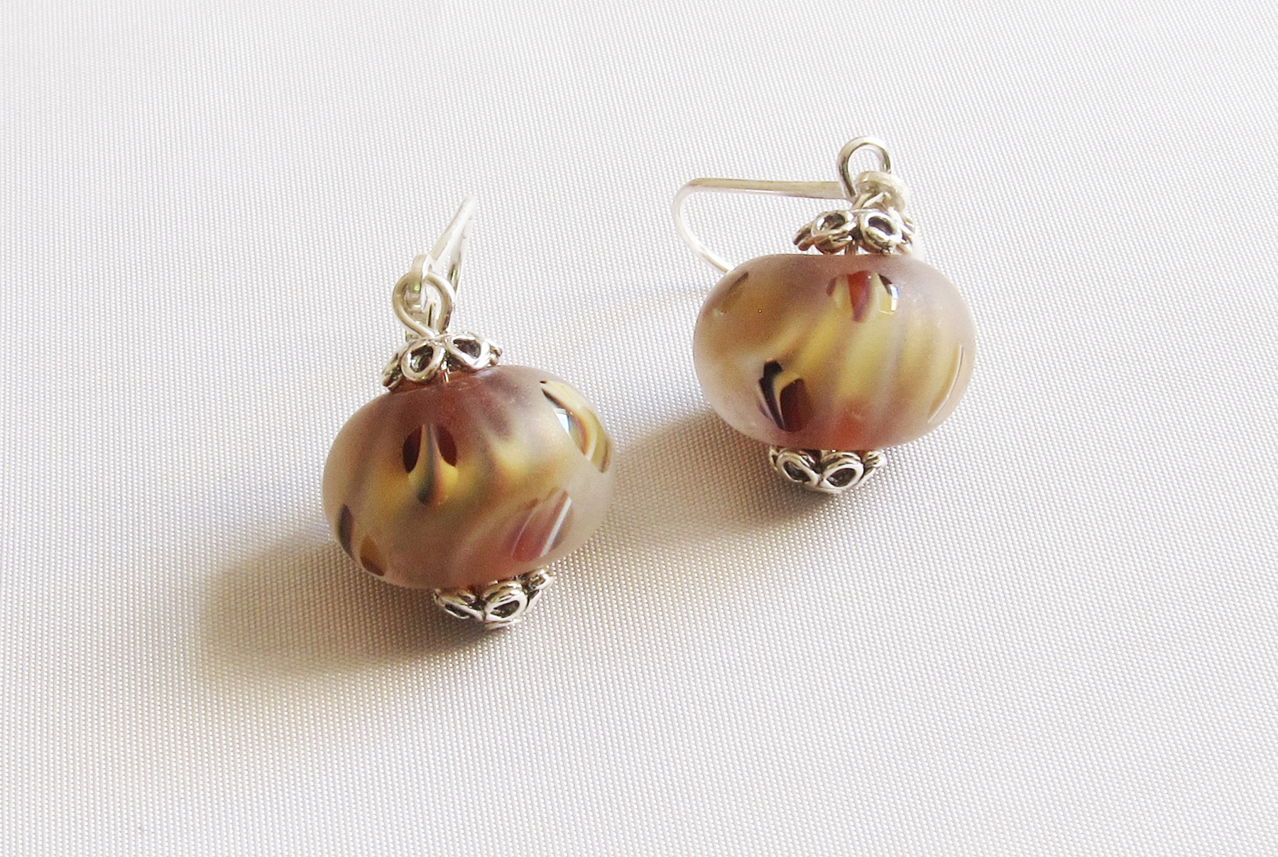 Amber Swirls Frosted Leverback Drop Earrings