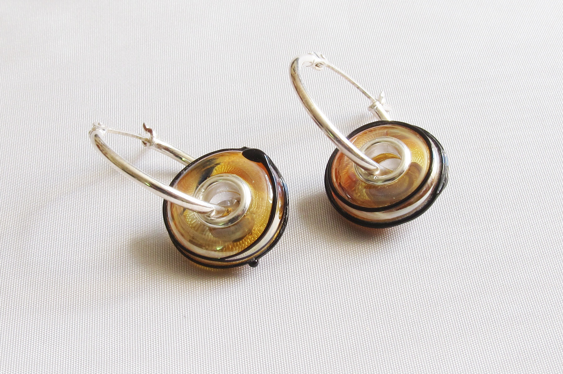 Gold Core Black Spun Silver Core Hoop Earrings
