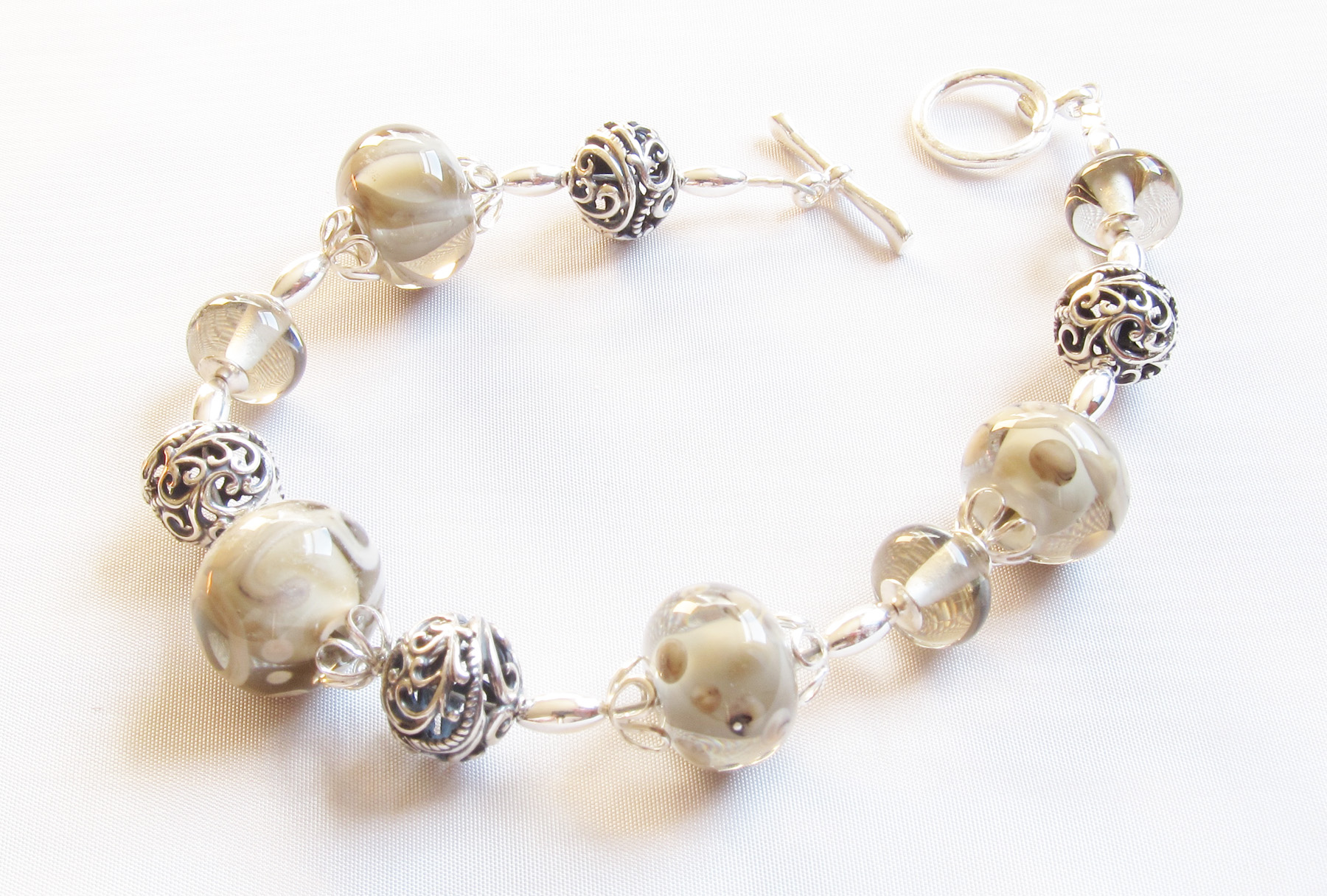 *NEW* Ivory Swirl Smoky Grey Bracelet