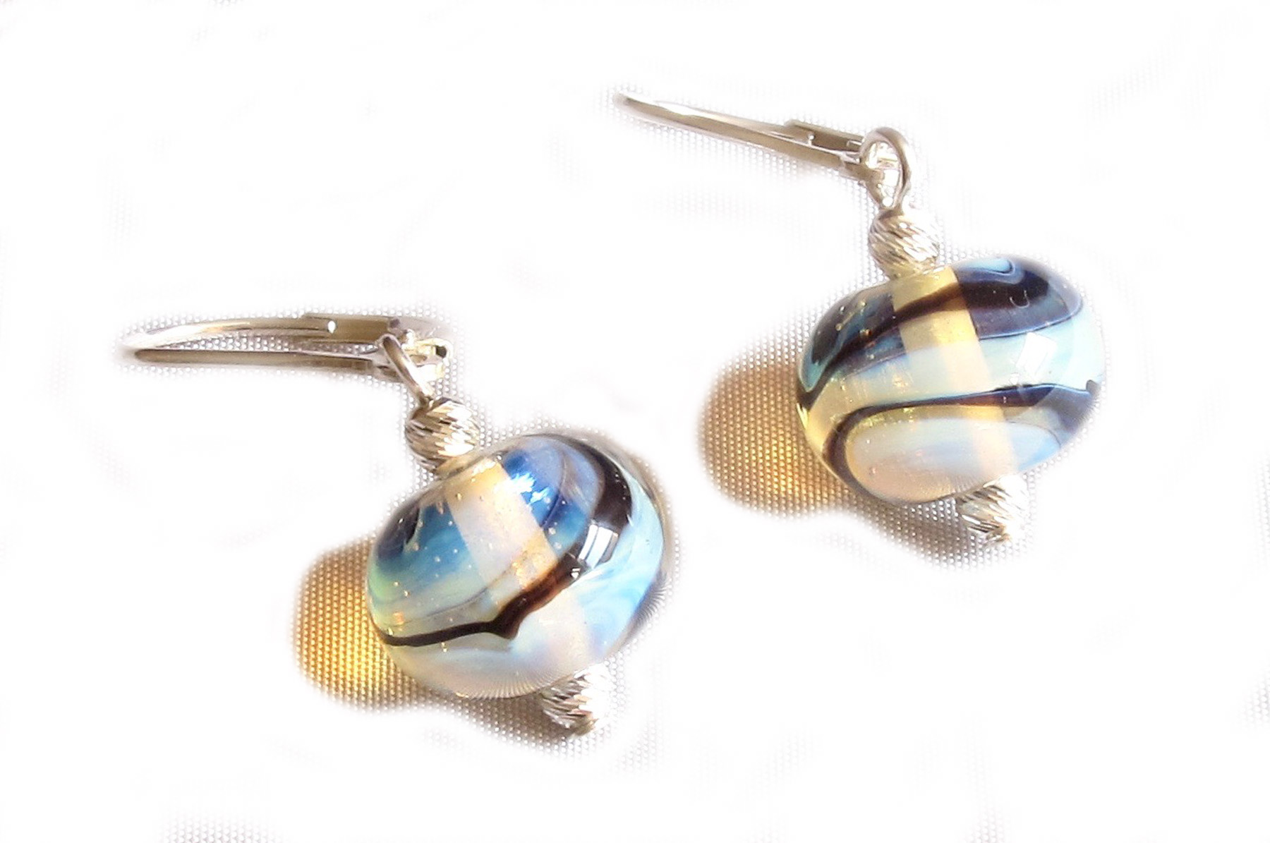 Glowing Swirl Glass Bead Leverback Drop Earrings