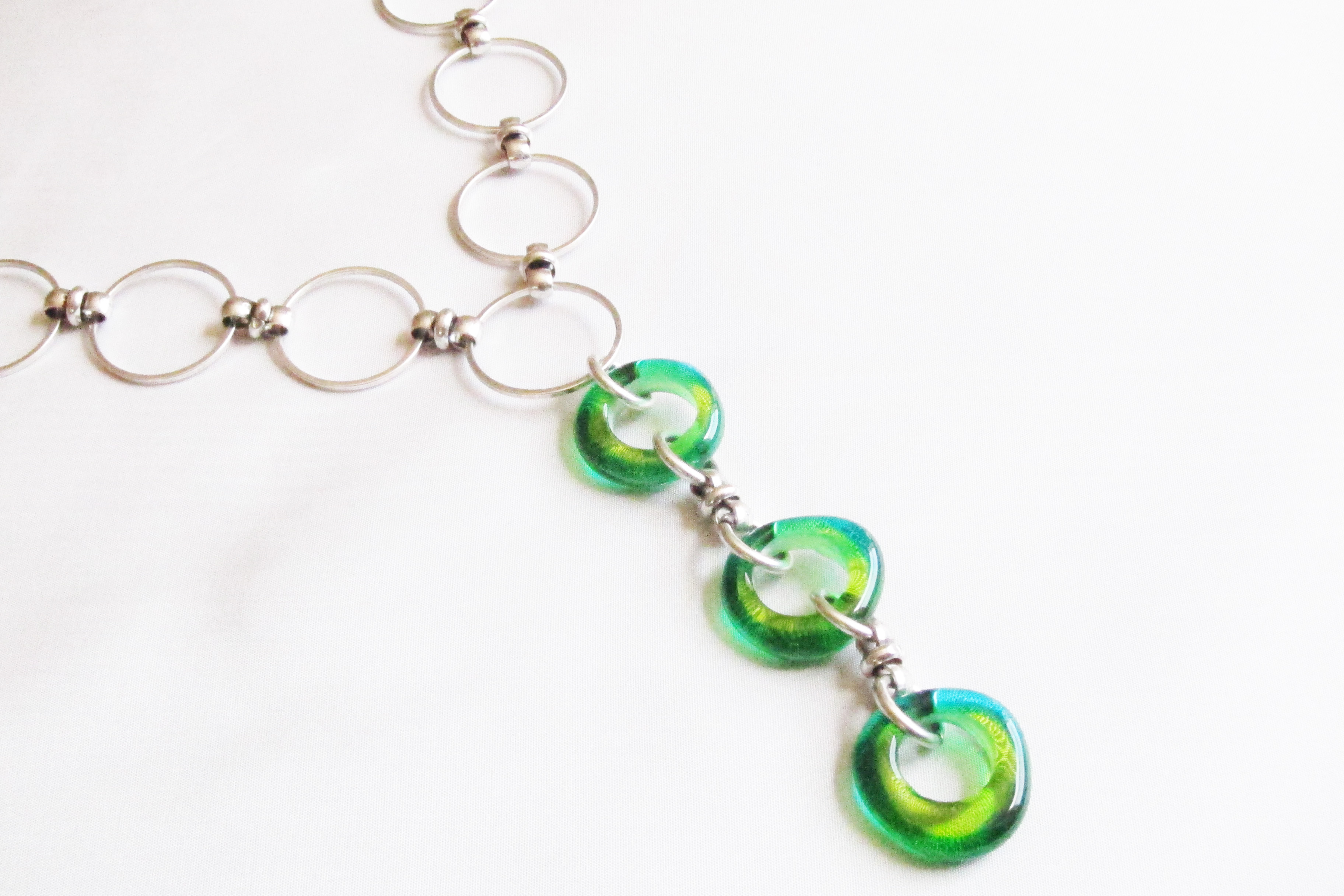 Green and Teal Hoop Glass Bead Drop Necklace