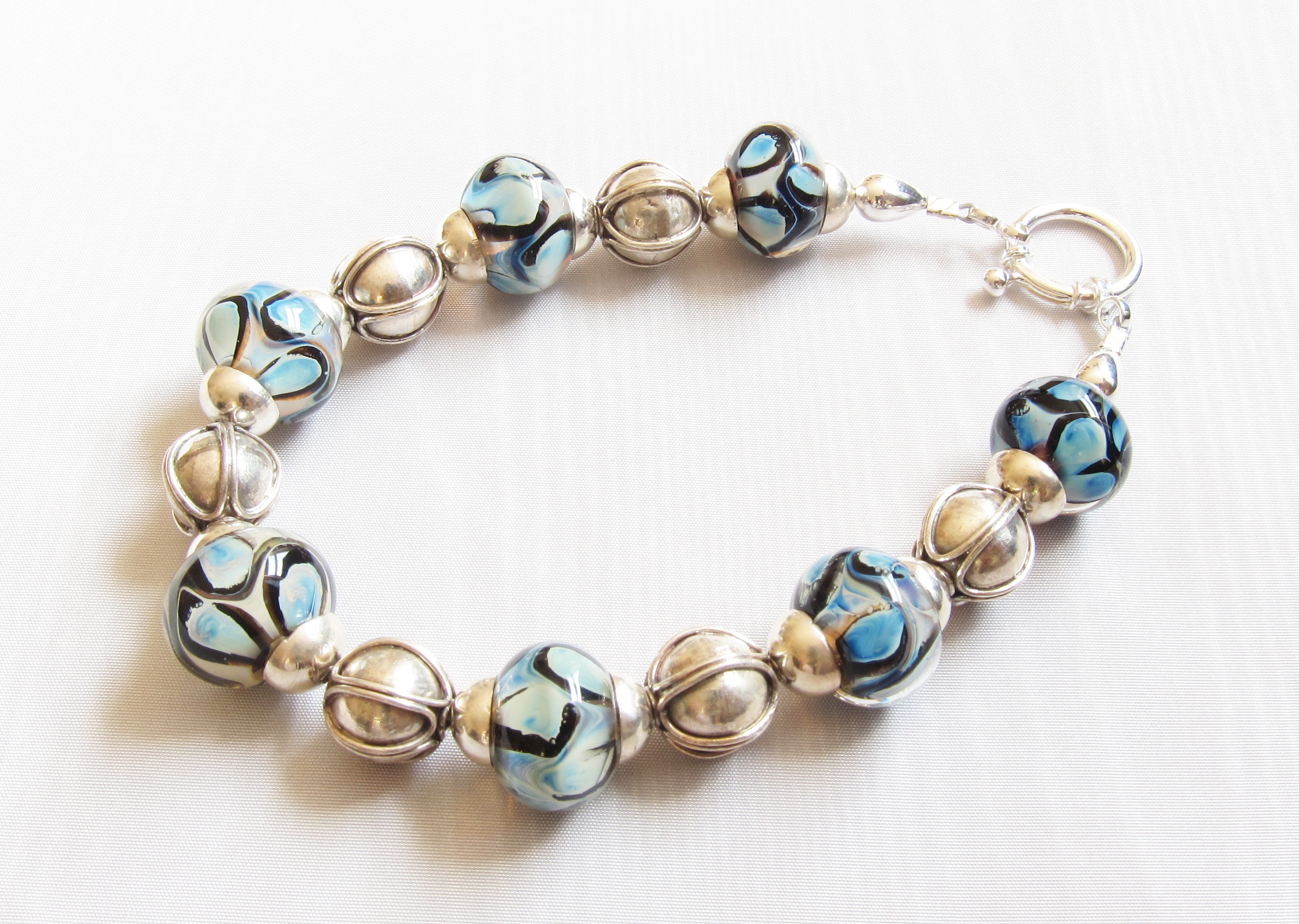 Light Bluesy Dot Swirls Bracelet