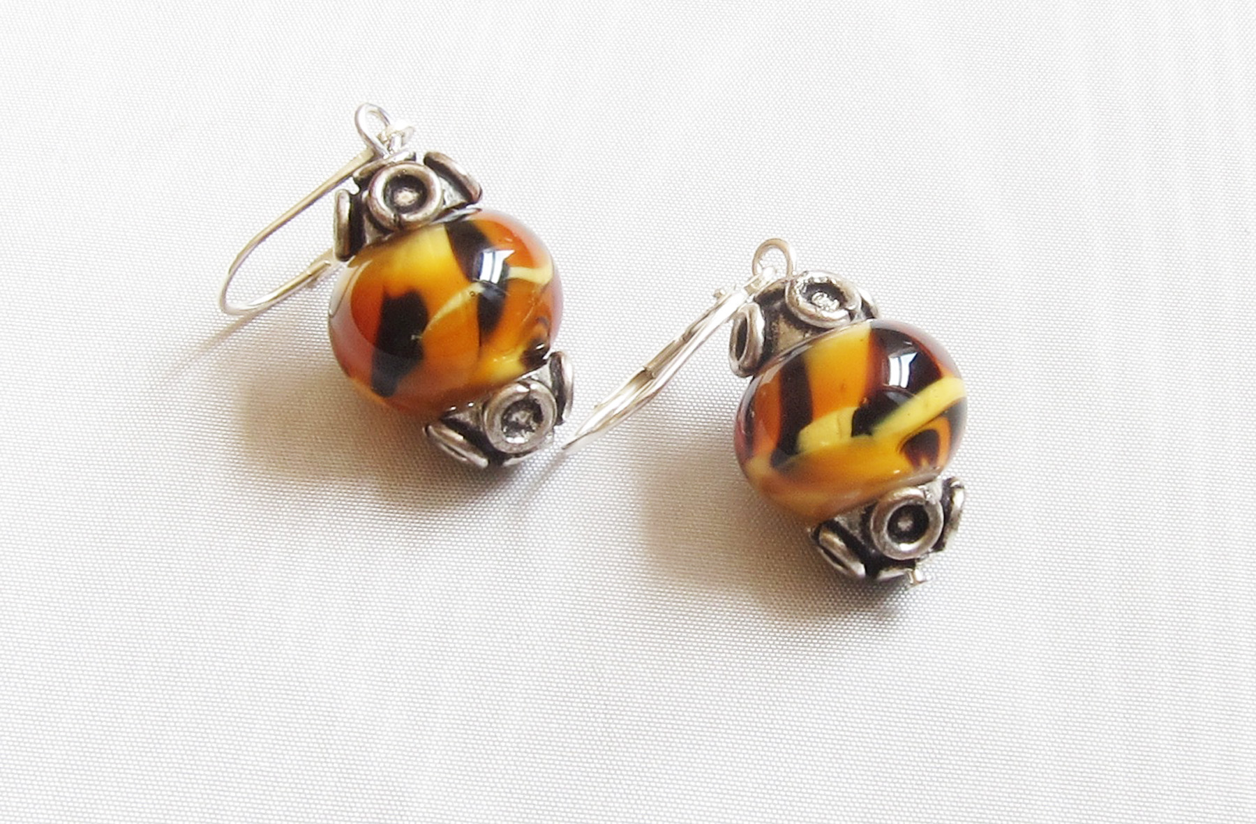 Bad Kitty Tiger Leverback Drop Earrings