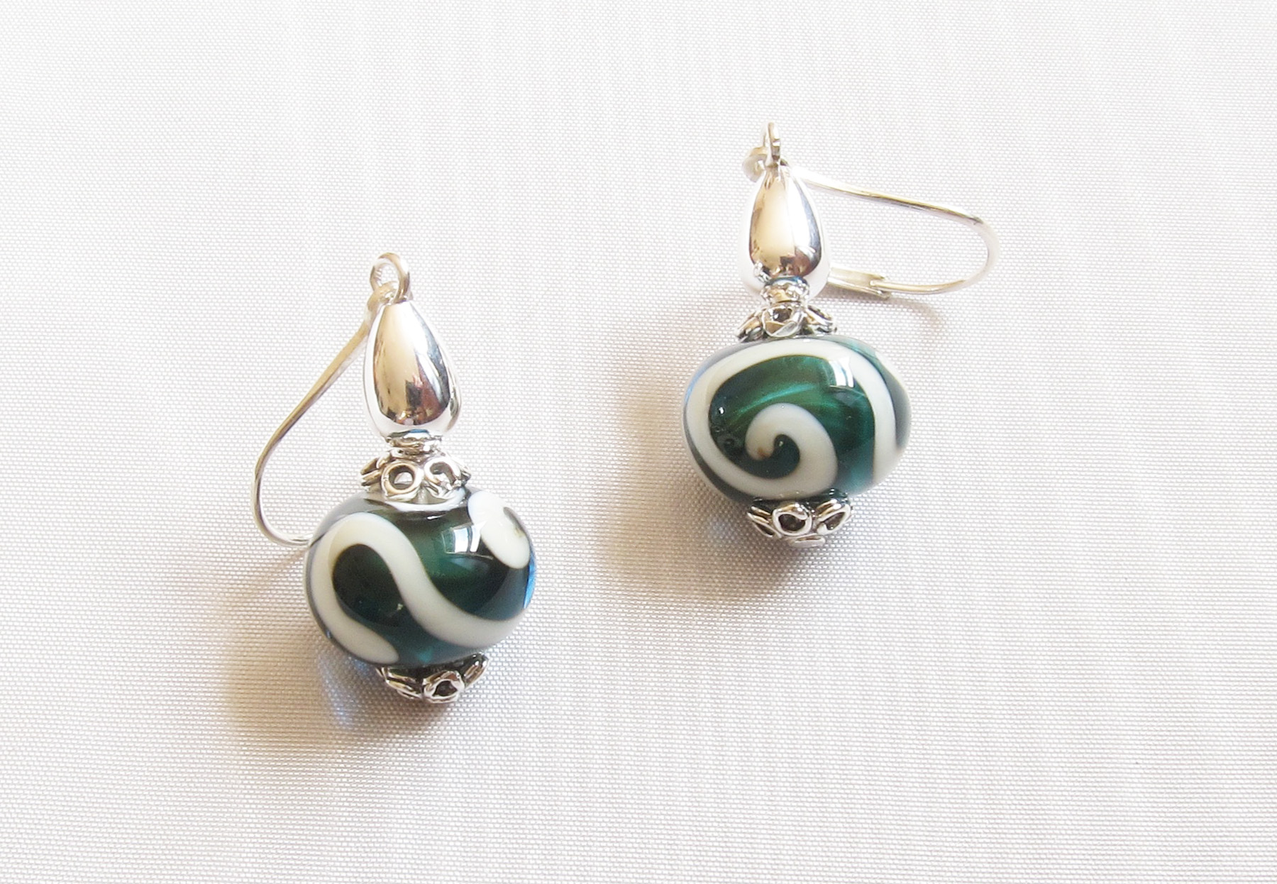 Deep Teal Ivory Swirl Leverback Drop Earrings
