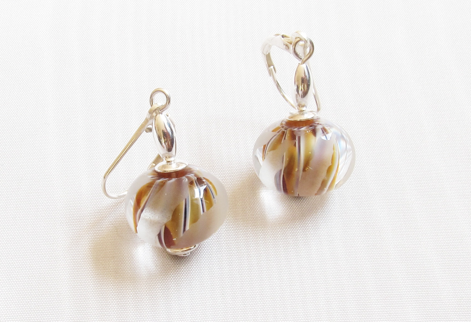 Amber Ivory Stripes Frosted Leverback Drop Earrings