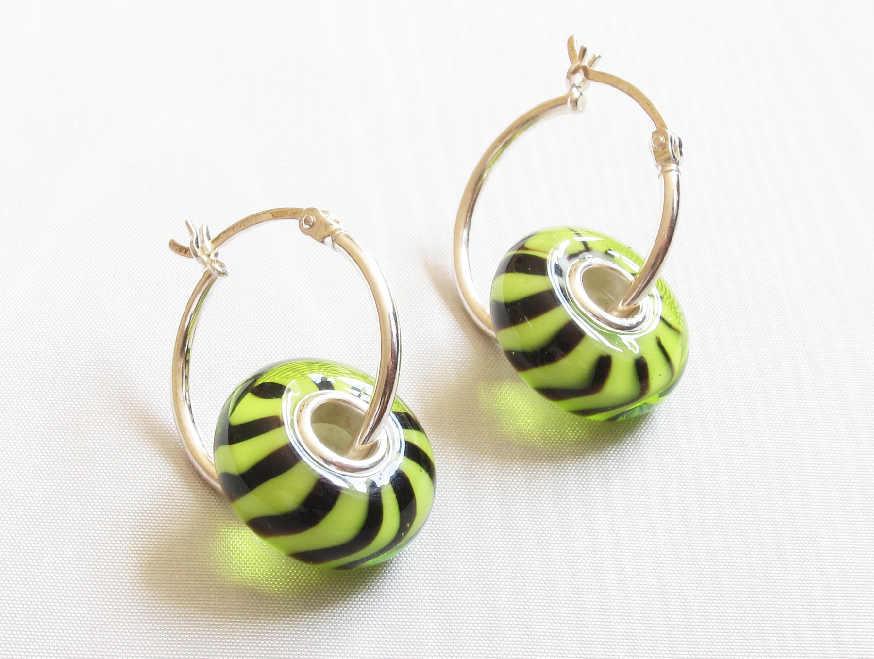 Lime Green Black Stripes Silver Core Hoop Earrings