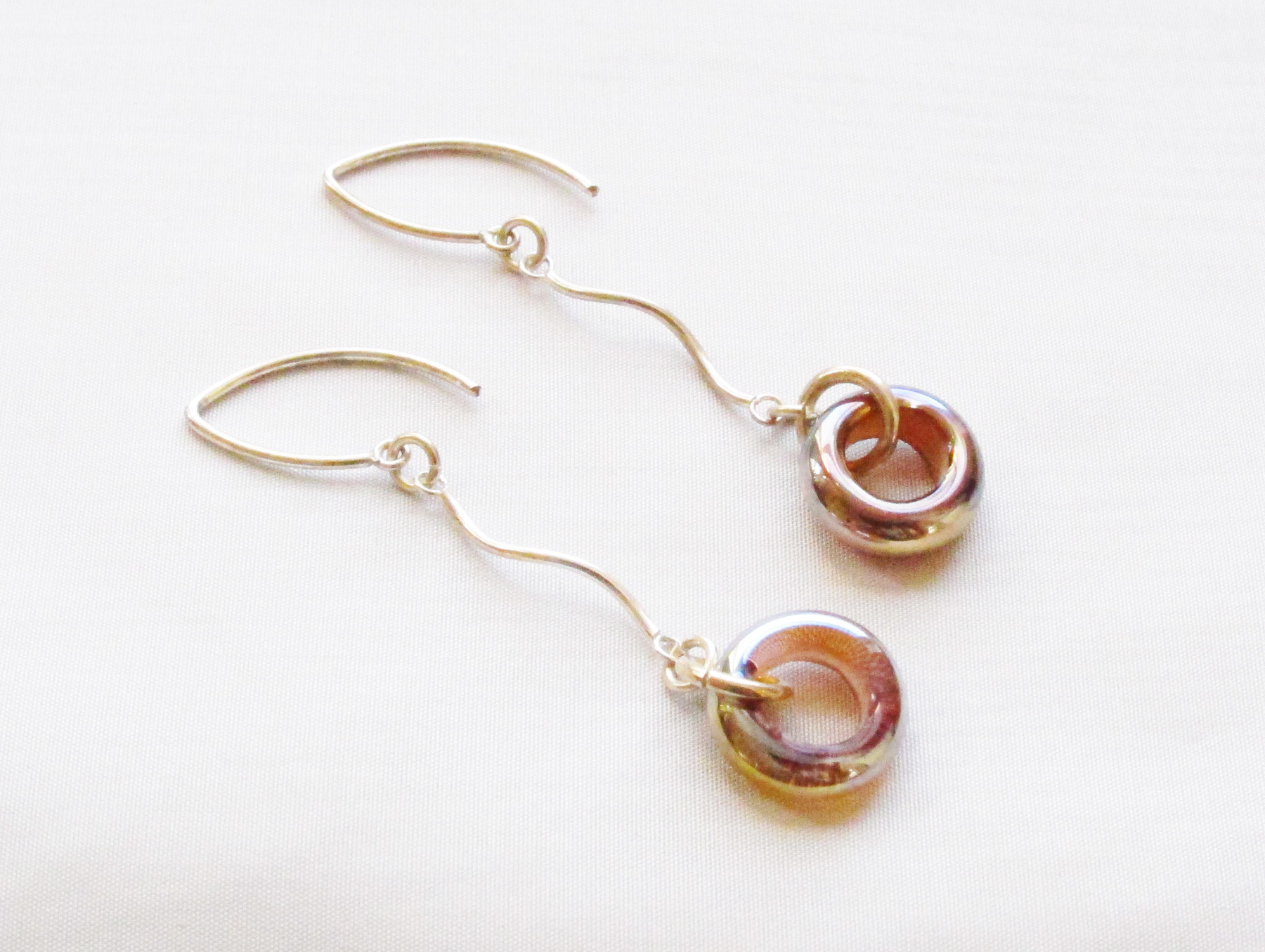 Gold Donut Drop Earrings