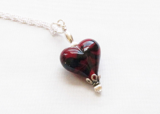 Red Black Swirled Heart Pendant on Silver Chain