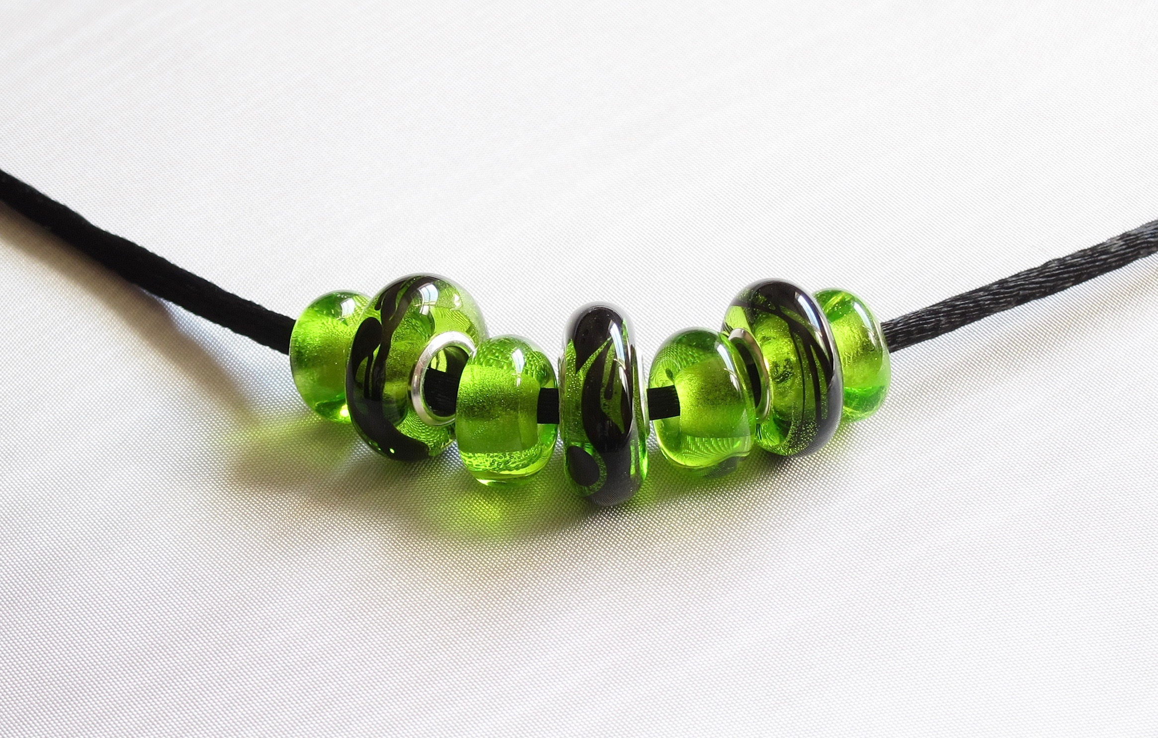 Green Donut Silver Core Bead Necklace on Satin Cord