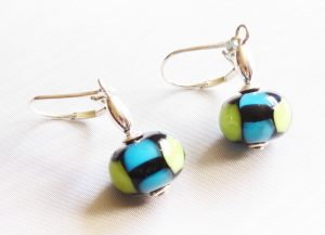 Turquoise Lime Green Block Earrings