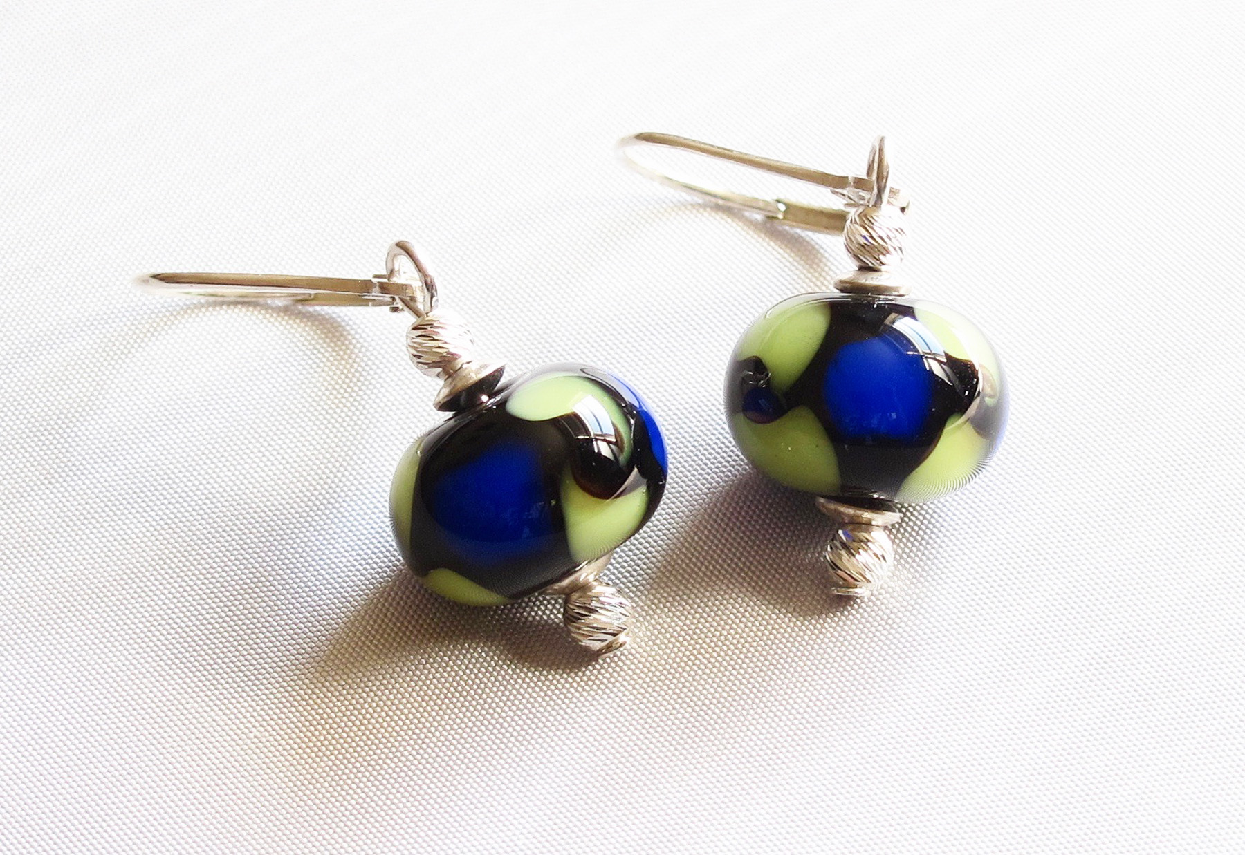 Cobalt Green Leverback Drop Earrings