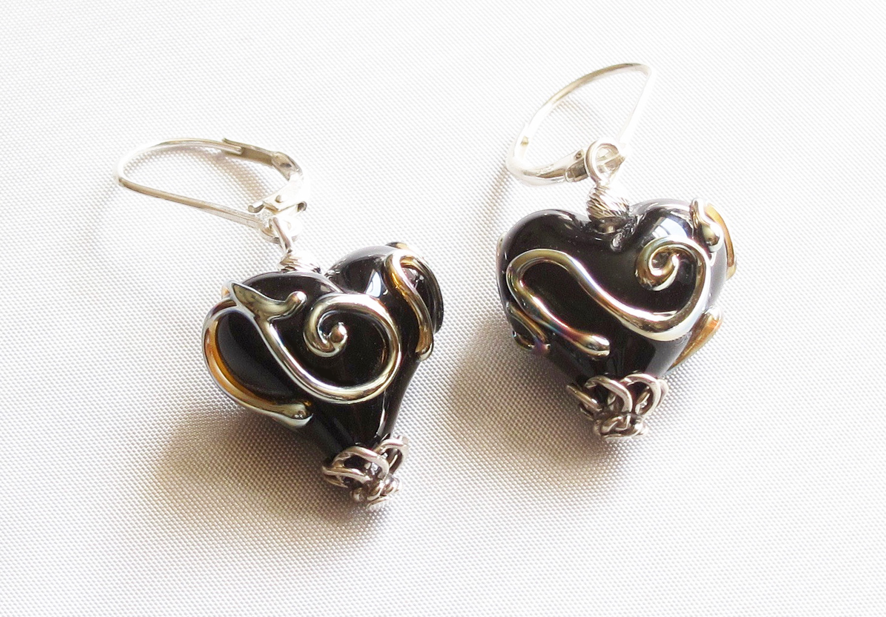 Metallic Swirls Glass Heart Leverback Drop Earrings