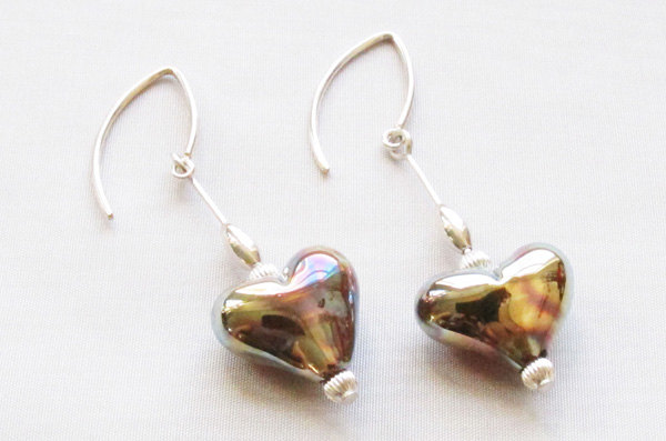 Rosy Gold Heart Dangle Earrings