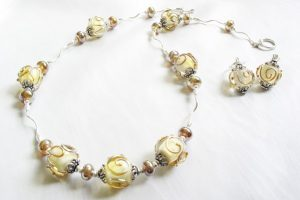 Cream Metallic Gold Necklace and Earrings