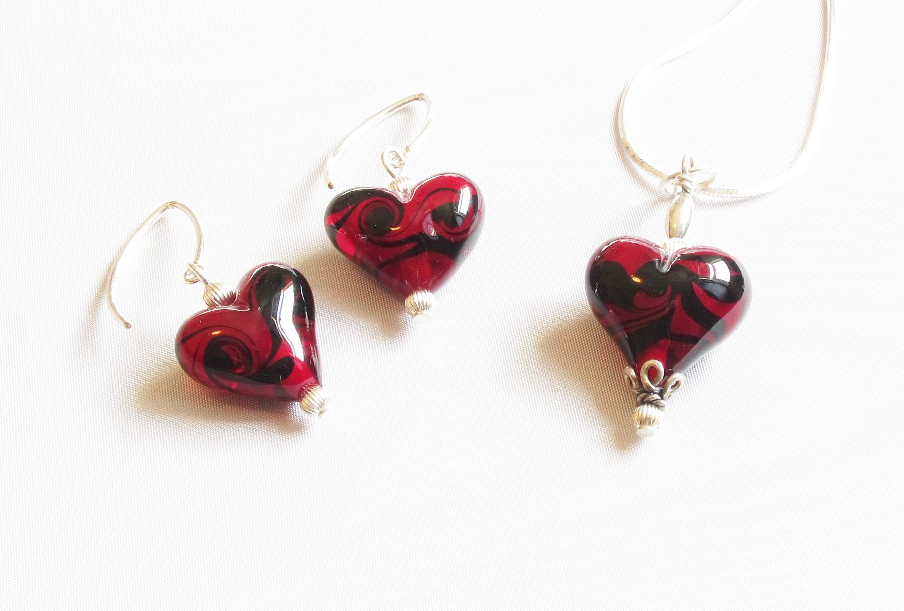Red with Black Swirls Heart Set