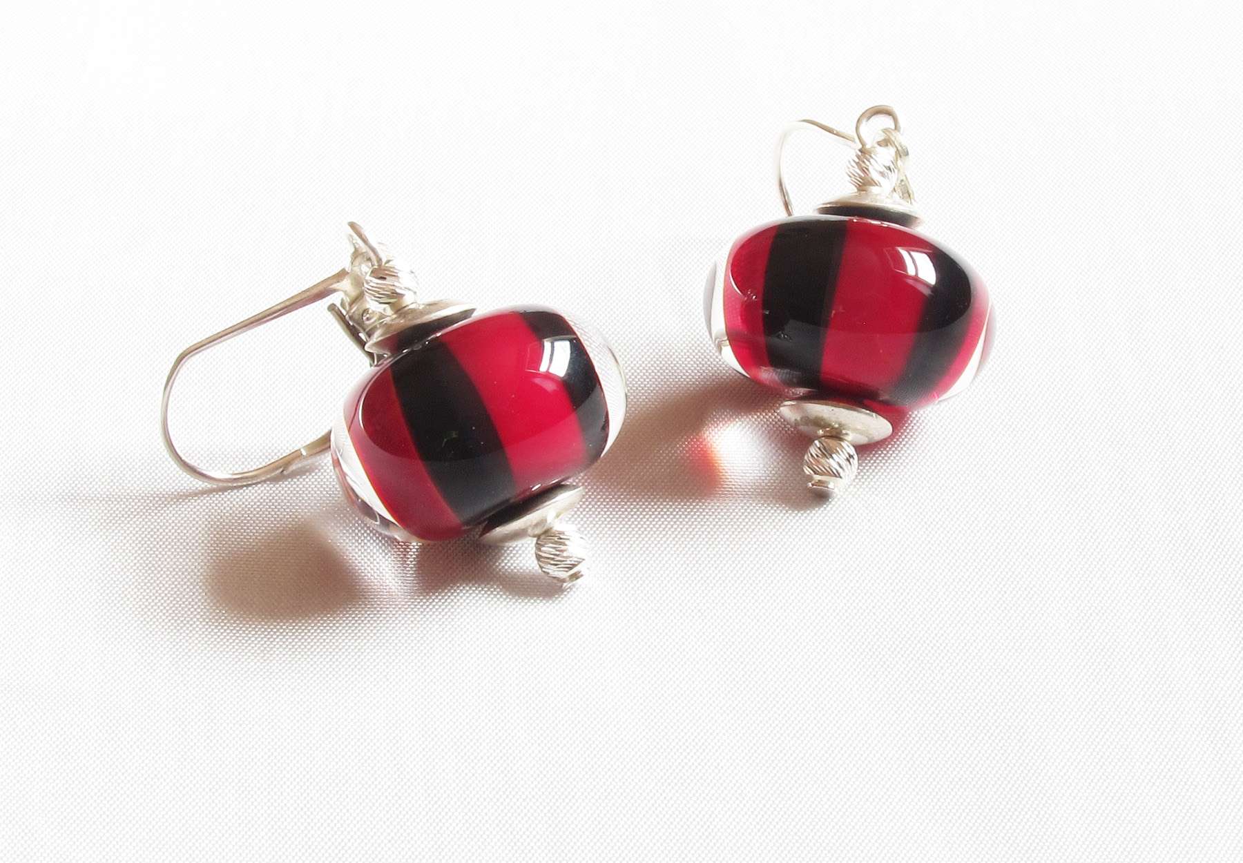 Red And Black Striped Leverback Drop Earrings