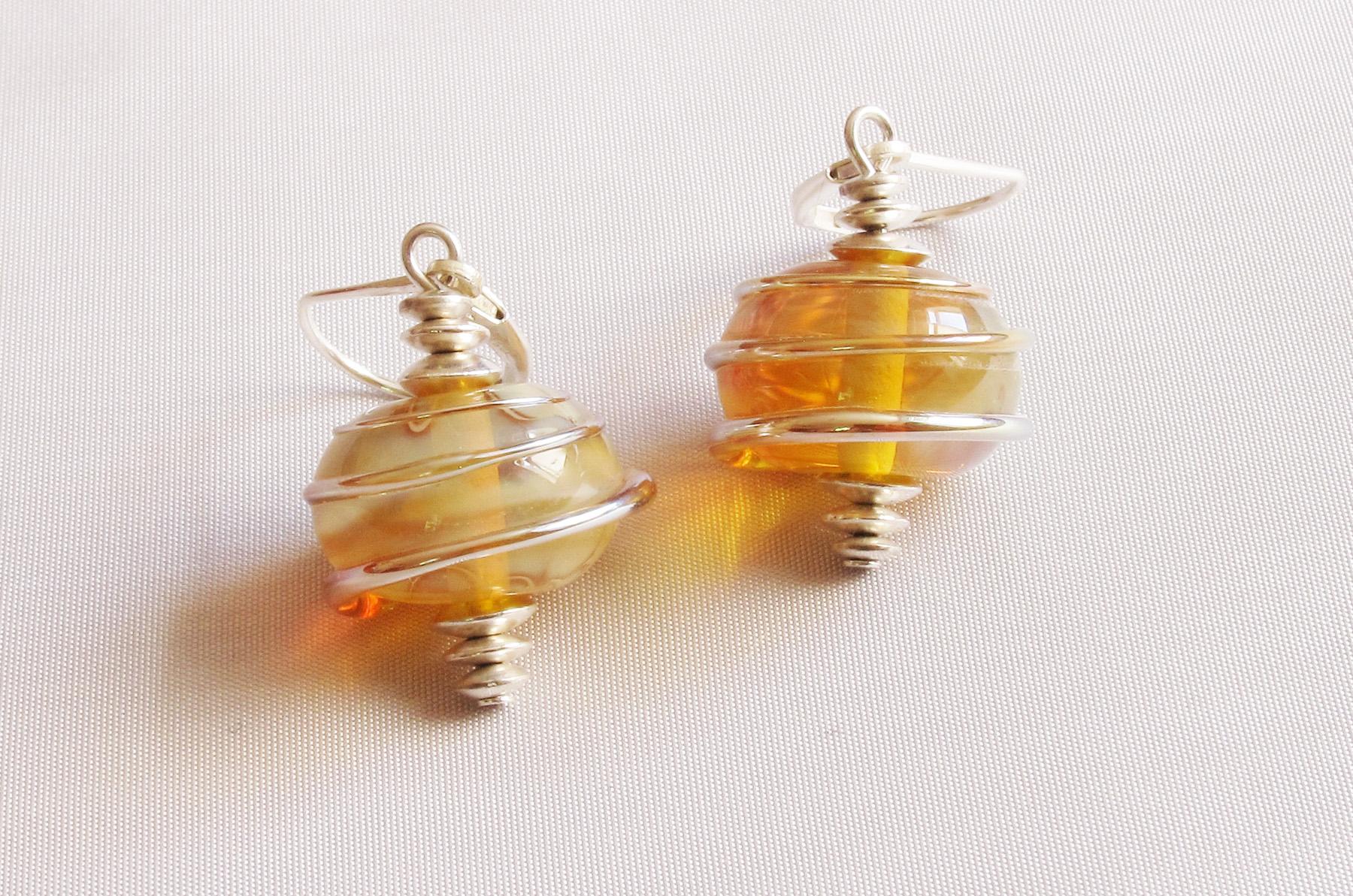 f45084545e2ebd Honey Gold Spiral Wrap Earrings – Bad Kitty Glass