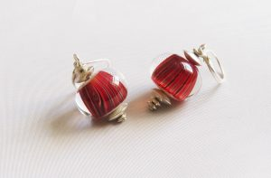 Red Twist Crystal Earrings