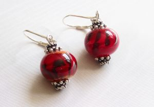 Red Tiger Stripe Earrings