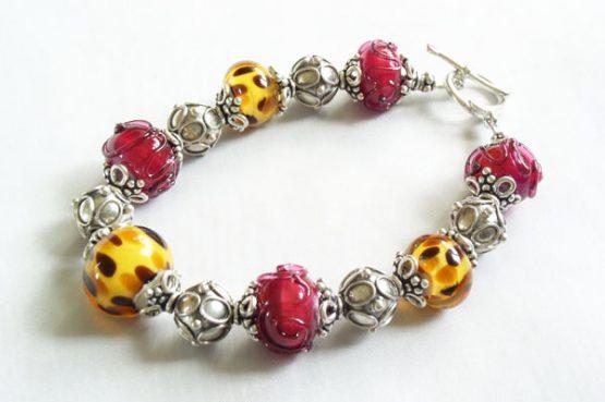 Bad Kitty Cheetah And Pink Swirl Combo Bracelet