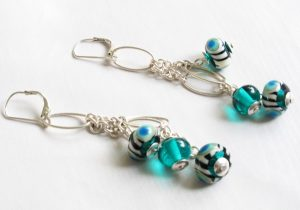 Peacock Eye Dangle Earrings