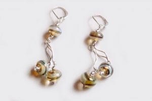 Aura Yellow Wavy Silver Dangle Earrings