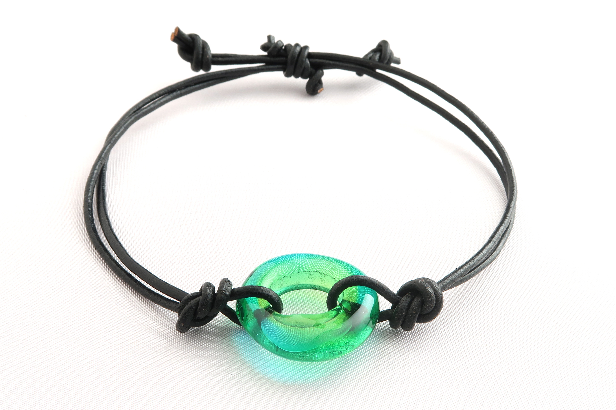 Green Teal Donut Double Strand Knotted Bracelet