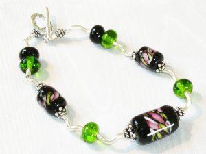 Wavy Silver Green Pink Stripe Bracelet