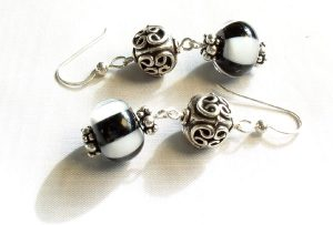 Black and White Stripe Crystal Earrings