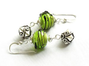 Black Wrapped Lime Green Earrings